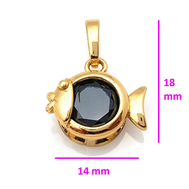 Кулон позолочений, Золота Рибка, з чорним цирконієм