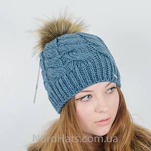 Женская шапка с помпоном  (Изумруд)
