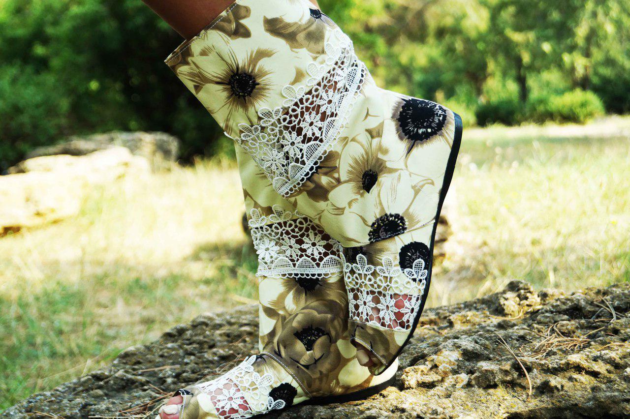 Полусапожки с открытым носком ткань+макраме. Подошва: черная и белая. Размеры: 36-42 код 4432О
