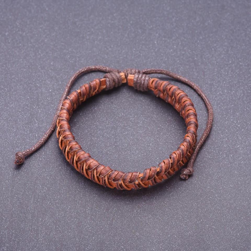 """Браслет """"Чешуя"""" коричневая эко кожа на затяжке"""