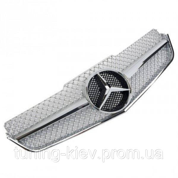 Решетка радиатора Mercedes С207 coupe / А207 cabrio в стиле AMG серебряная с хромом