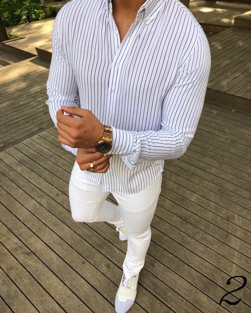 8c6fa5a228e9cb4 Новая Мужская Белая Рубашка в Полоску Slim Fit Приталенная Нарядная с  Воротником-Стойкой