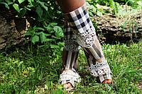 Полусапожки с открытым носком  коттон+макраме. Подошва: черная и белая. Размеры: 36-42 код 4443О