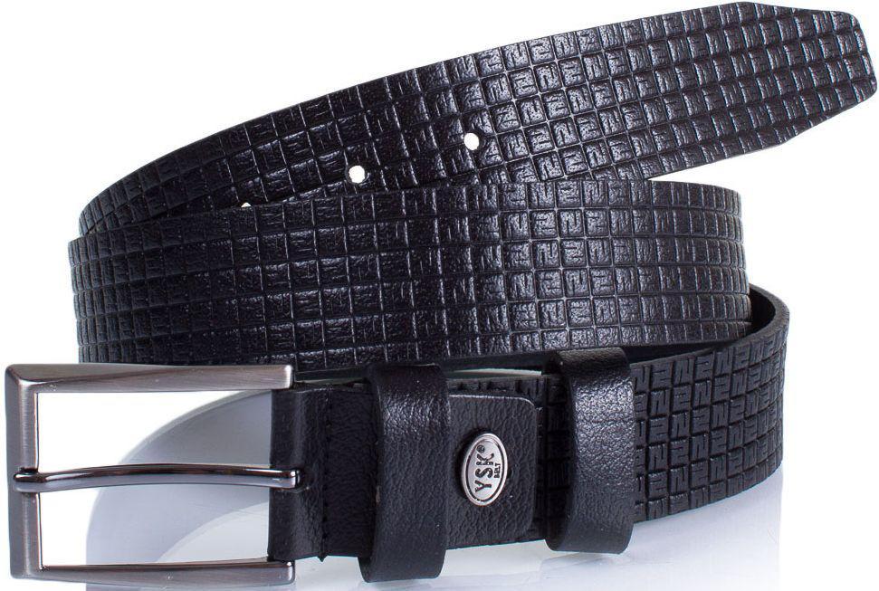 Ремень кожаный Y.S.K. (УАЙ ЭС КЕЙ) SHI3052-1, мужской, 3,5 см, черный