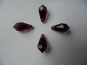 Намистини кришталеві капельки фіолет 9*18 мм