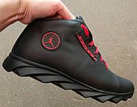 2019 -2020  мужские кроссовки в стиле Jordan зима черные с красным кожа обувь кросовки спорт