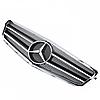 Решетка с эмблемой Mercedes W204 хром / черная сетка, фото 2