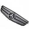 Решетка радиатора Mercedes W204 стиль AMG черная матовая с полосками, фото 2