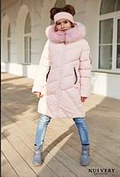 Зимнее пальто на девочку Сафина, мех песец