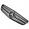 Решетка с эмблемой Mercedes W204 в стиле С63 черная с хром полосками, фото 2