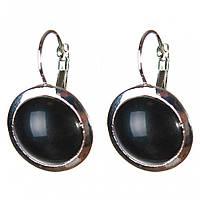 Серьги Агат черный гладкая оправа круглый камень 2см L-3,1см