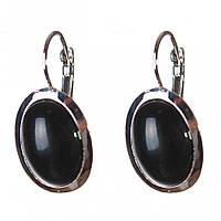 Серьги Агат черный гладкая оправа овальный камень 2,2*1,8см L-3,2см