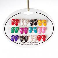 [10 мм] Серьги детские набор 12 шт. разные цвета кепки летние со стразами