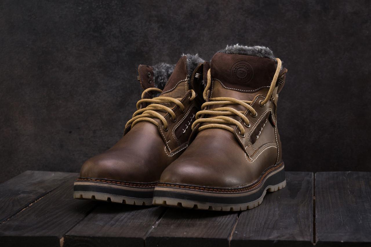 Ботинки мужские  Riccone зимние стильные высокие лучшие кожаные на шнурках (коричневые), ТОП-реплика