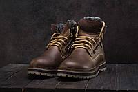 Ботинки мужские  Riccone зимние стильные высокие лучшие кожаные на шнурках (коричневые), ТОП-реплика, фото 1