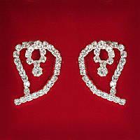 [27x20 мм] Серьги женские белые стразы светлый металл свадебные вечерние гвоздики (пусеты ) сердце среднее