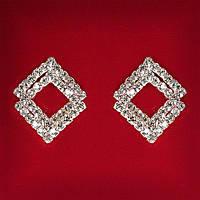 [25x23 мм] Серьги женские белые стразы светлый металл свадебные вечерние гвоздики (пусеты ) ромб двойные рама средние