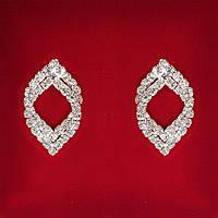 [28x17 мм] Серьги женские белые стразы светлый металл свадебные вечерние гвоздики (пусеты ) восточные двойные средние