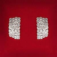 [30 мм] Серьги женские белые стразы светлый металл свадебные вечерние гвоздики (пусеты ) слегка изогнутые средние