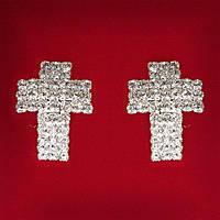 Серьги женские белые стразы светлый металл свадебные вечерние гвоздики (пусеты ) крестик крупные 25мм