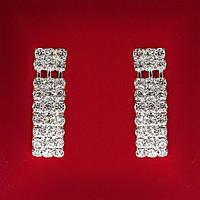 [40 мм] Серьги женские белые стразы светлый металл свадебные вечерние гвоздики (пусеты ) подвески 3 ряда с разделением средние