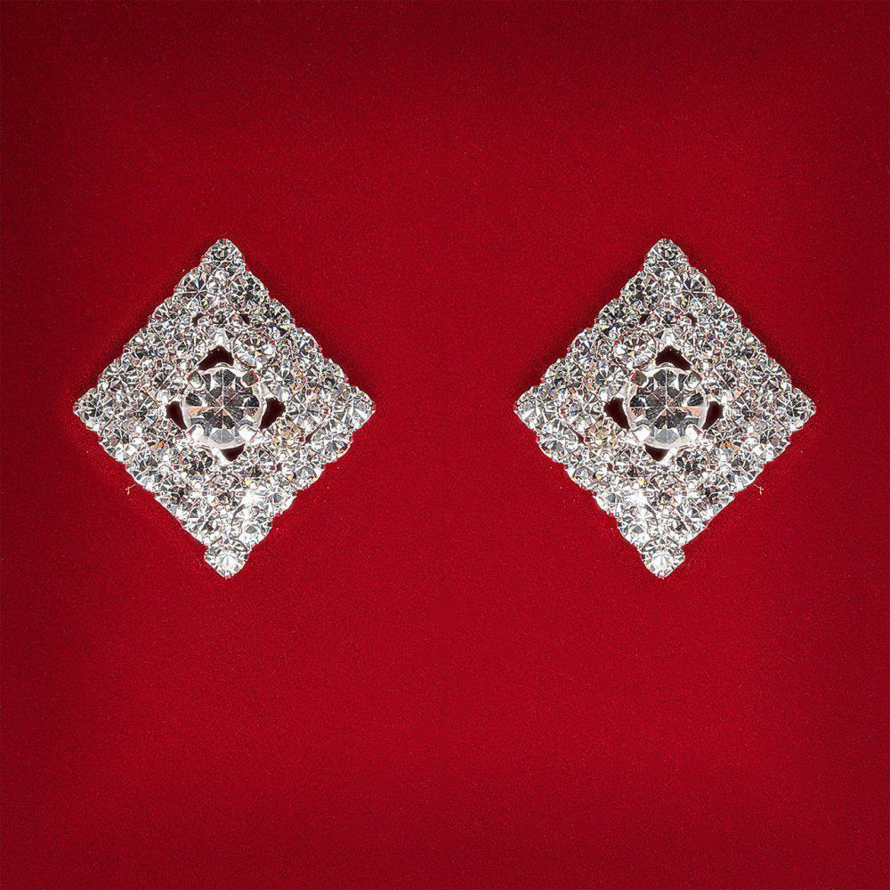 [20 мм] Серьги женские белые стразы светлый металл свадебные вечерние гвоздики (пусеты ) ромб мини со вставкой