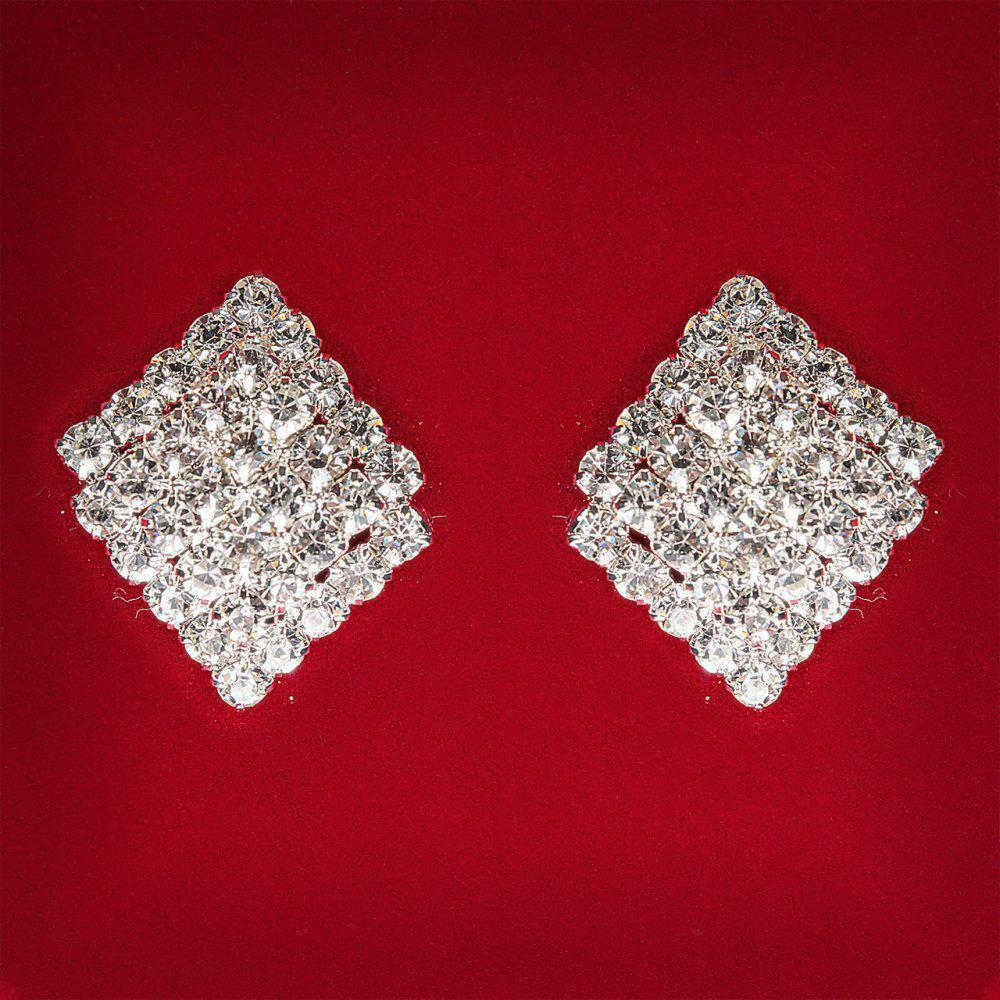 [17x17 мм] Серьги женские белые стразы светлый металл свадебные вечерние гвоздики (пусеты ) ромбик двойные средние