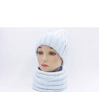 """Комплект шапка и шарф вязаные """"Женева """" небесный 904033"""