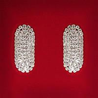 [45x25 мм] Серьги женские белые стразы светлый металл свадебные вечерние гвоздики (пусеты ) овальные вытянутые крупные
