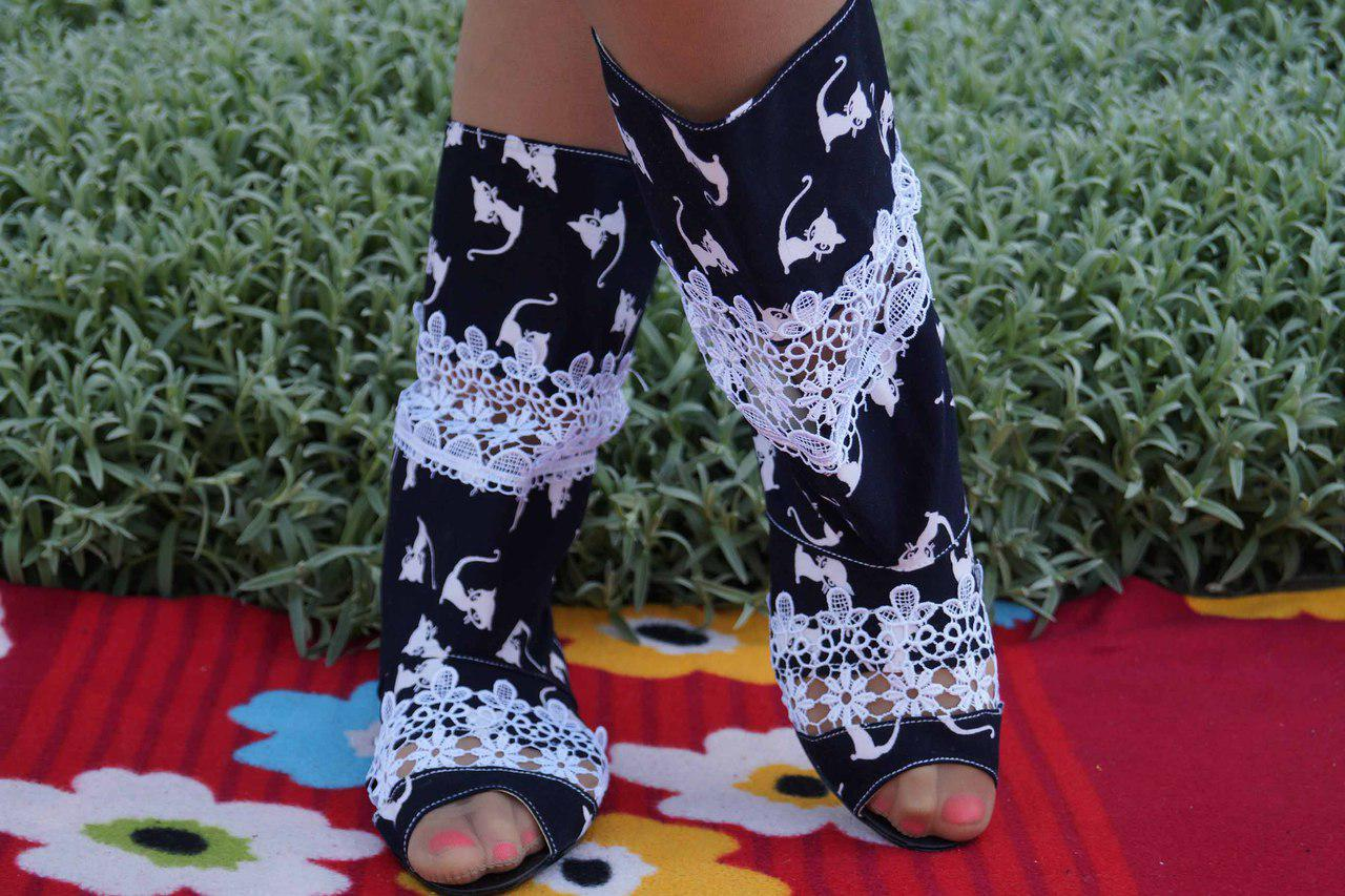 Полусапожки с открытым носком ткань+макраме. Подошва: черная и белая. Размеры: 36-42 код 4463О