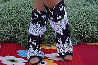 Полусапожки с открытым носком ткань+макраме. Подошва: черная и белая. Размеры: 36-42 код 4463О, фото 1