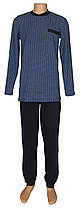 Пижама теплая трикотажная мужская 03207 Коmbi Blue Клетка коттон начес, р.р.46-60