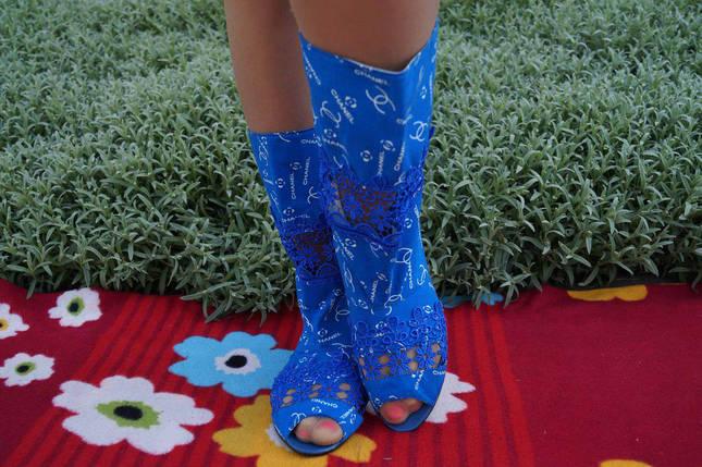 Полусапожки с открытым носком ткань+макраме. Подошва: черная и белая. Размеры: 36-42 код 4465О, фото 2