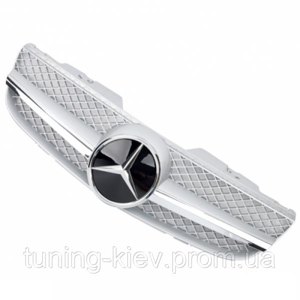 Решетка радиатора Mercedes R230 стиль AMG FL серебряная с хромом