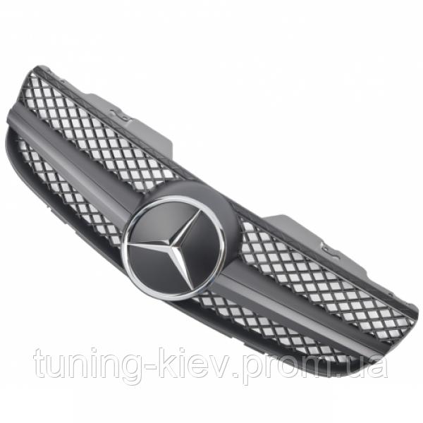 Решетка радиатора Mercedes R230 стиль AMG матовая с хром звездой