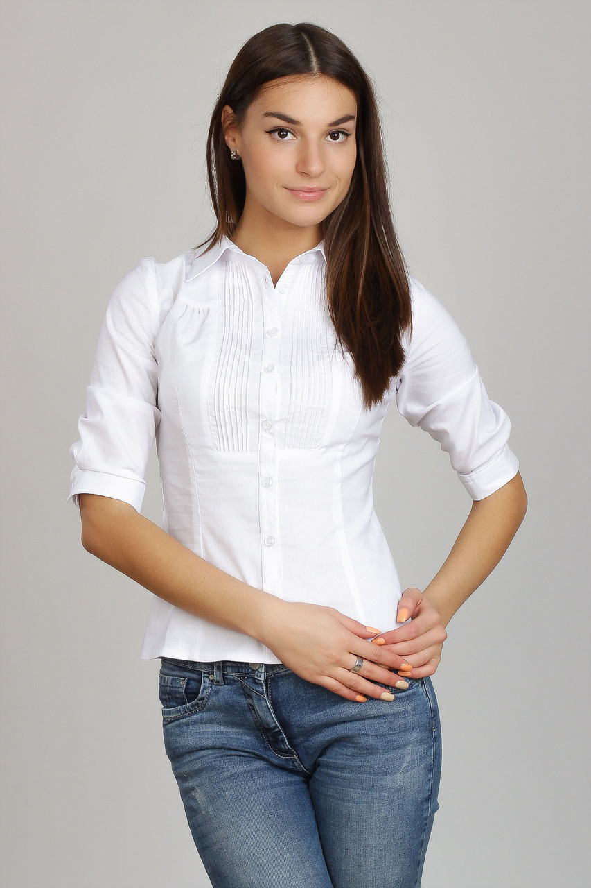 Белая хлопковая деловая блузка, воротник - рубашечный,  Р101