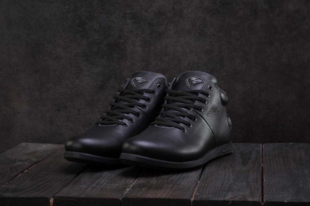 Чоловічі зимові черевики Olimp шкіряні низькі зручні на шнурках (чорні), ТОП-репліка