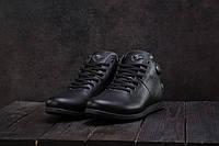 Чоловічі зимові черевики Olimp шкіряні низькі зручні на шнурках (чорні), ТОП-репліка, фото 1