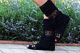 Полусапожки с открытым носком рюши+макраме. Подошва: черная и белая. Размеры: 36-42 код 4478О, фото 2
