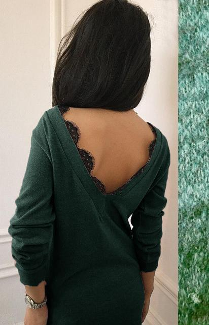 Осеннее платье туника прямого кроя  открытая спина с кружевом зелёное