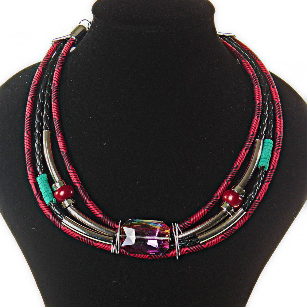 [2,5 / 3,5 мм] Ожерелье африканский мотив, цвета: бирюзовый, красный, черный, 4 ряда, металлические бусины,