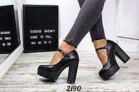 Туфли Cristina с ремешком на каблуке и платформе черные, фото 1