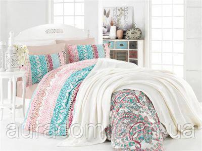 Набор постельного белья с вязаным пледом,  Евро,  Nazenin Турция.