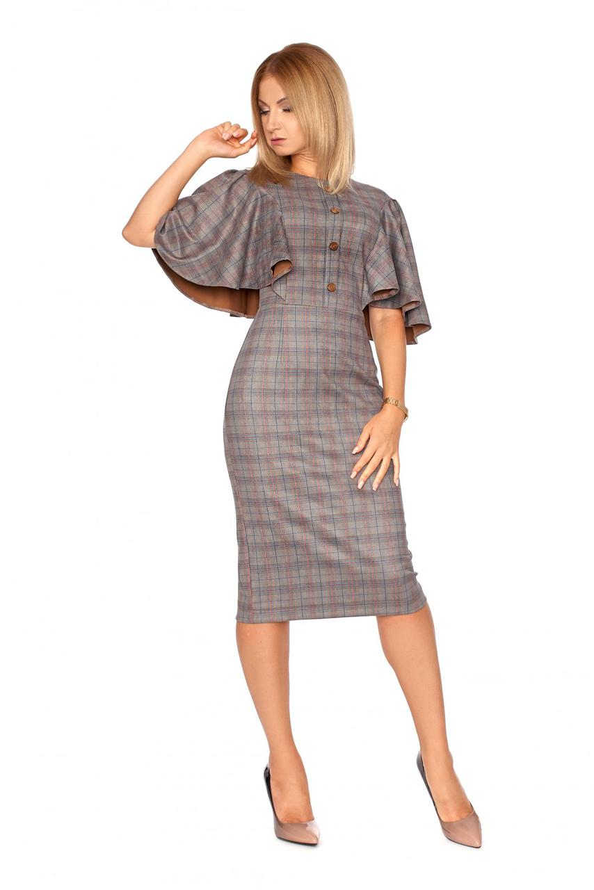 1ef0ad27a78 Элегантное деловое женское платье в клетку коричневое  продажа