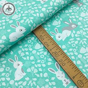 """Польская хлопковая ткань """"кролики серые, белые на мятном"""", фото 2"""