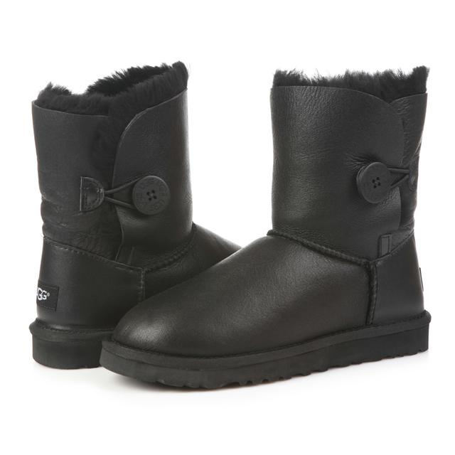 UGG Bailey Button Metallic Black Leather