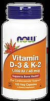 Вітамін NOW Foods Vitamin D-3 & K-2 1,000 IU / 45 mcg 120 Caps