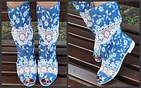 Полусапожки с открытым носком коттон+макраме. Подошва: черная и белая. Размеры: 36-42 код 4484О