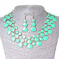 Набор ожерелье + серьги Лава-Лампа, металл Gold и глянец аквамарин