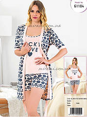 Женский набор пижама с шортами и халат